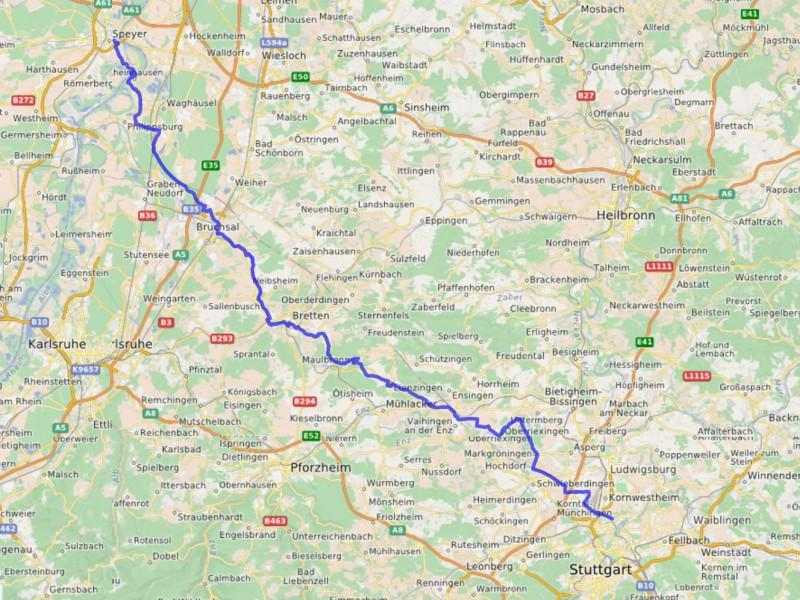 Streckenverlauf Stuttgart-Speyer Tour 2013
